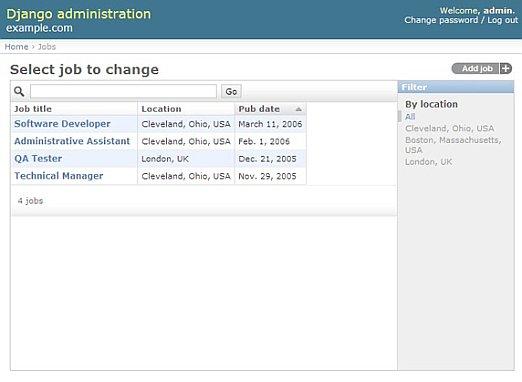 Admin aracını kullanarak işlerin listelenmesi